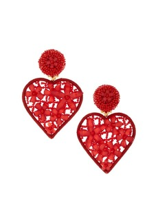 Oscar de la Renta Embellished Heart Clip-On Drop Earrings