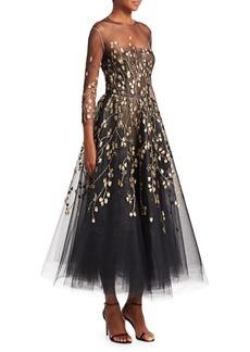 Oscar de la Renta Embellished Illusion Fit-&-Flare Cocktail Dress