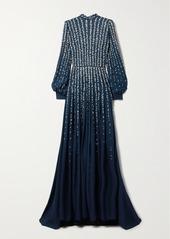 Oscar de la Renta Embellished Metallic Fil Coupé Silk-chiffon Gown