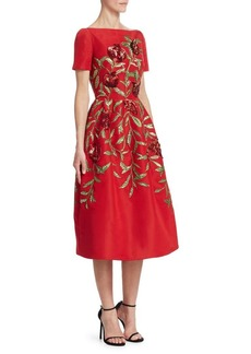 Oscar de la Renta Embellished Pomegranate A-Line Dress