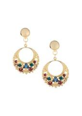 Oscar de la Renta Embossed Goldtone Swarovski Crystal Disc Drop Earrings