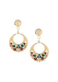 Oscar de la Renta Embossed Goldtone Swarovski Crystal Disc Drop Earrings