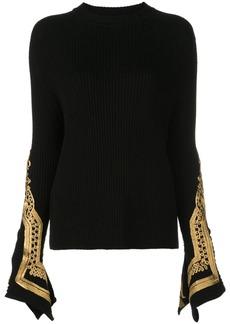 Oscar de la Renta embroidered cuffs jumper