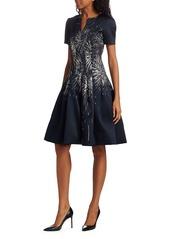 Oscar de la Renta Embroidered-Firework Cocktail Dress