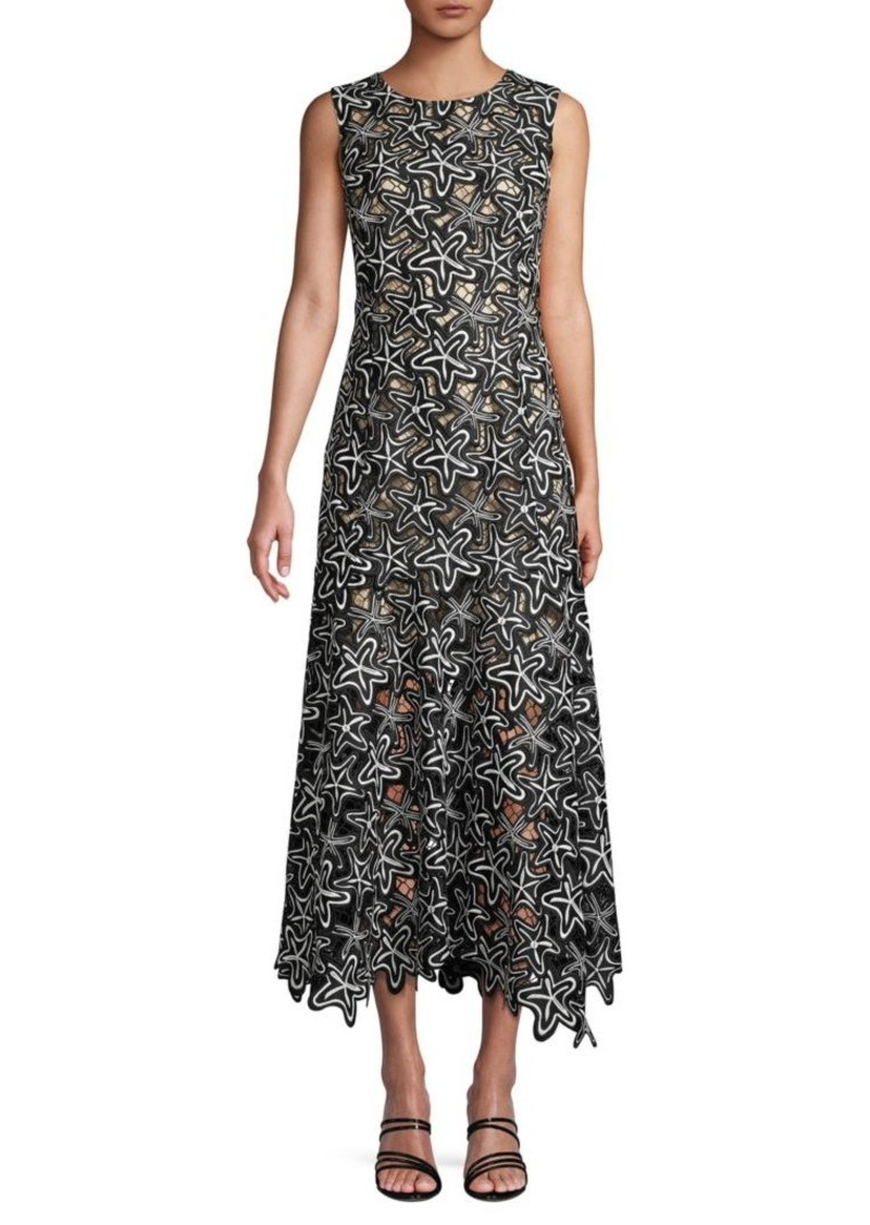 Oscar de la Renta Embroidered Flared Midi Dress