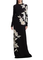 Oscar de la Renta Embroidered Floral Column Gown