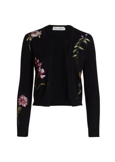 Oscar de la Renta Embroidered Floral Knit Cardigan