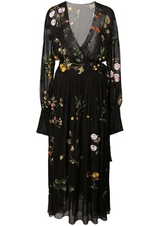 Oscar de la Renta embroidered floral wrap dress