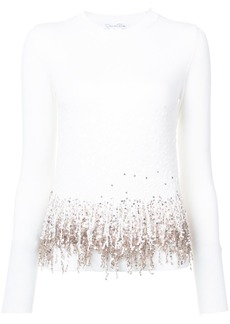 Oscar de la Renta embroidered fringed sweater