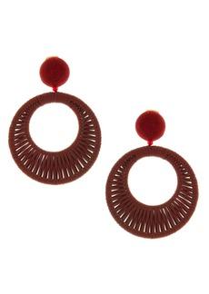 Oscar de la Renta Embroidered Leather Clip-On Earrings
