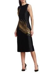Oscar de la Renta Embroidered Metallic Feather Sheath Dress