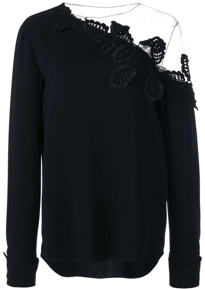 Oscar de la Renta embroidered off shoulder blouse