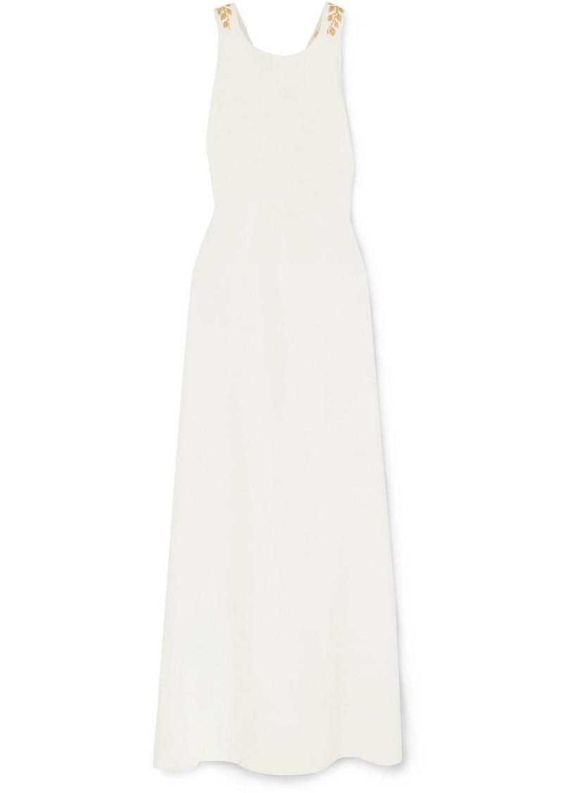 Oscar de la Renta Embroidered Open-back Grain De Poudre Wool-blend Gown