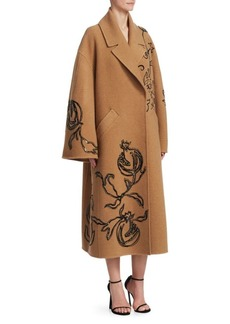 Oscar de la Renta Embroidered Pomegranate Camel Hair Coat