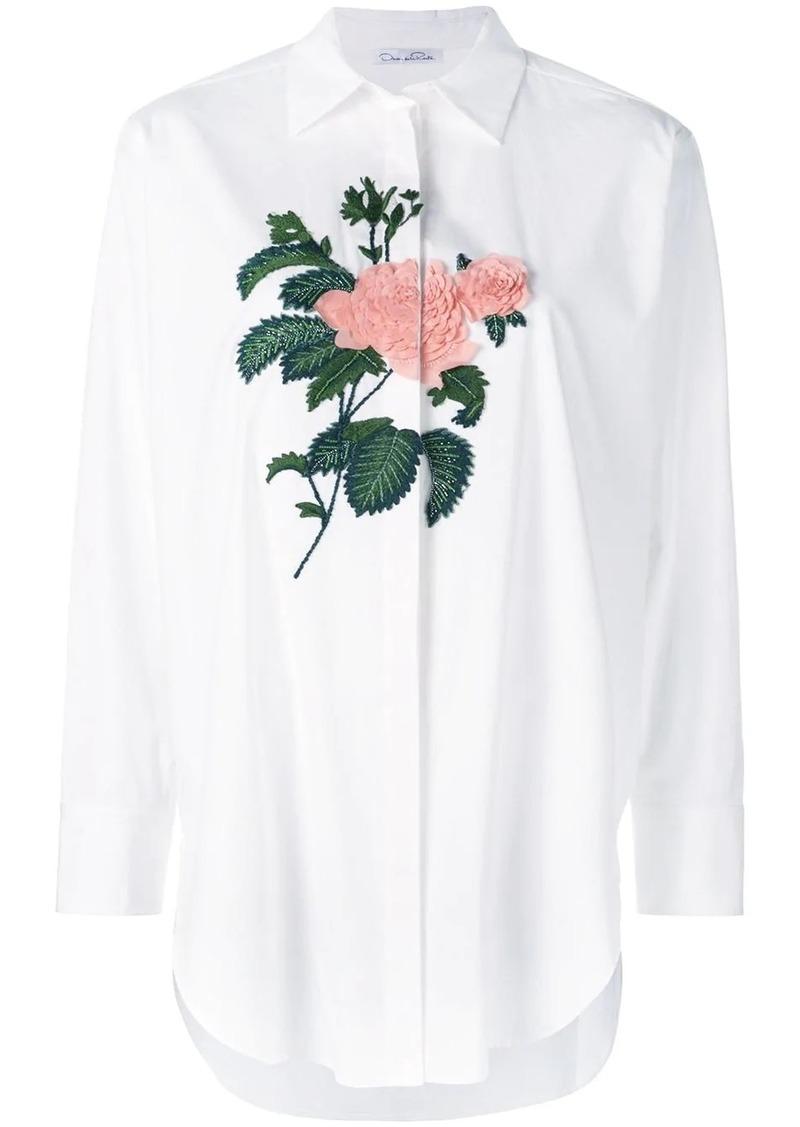 Oscar de la Renta embroidered rose oversized shirt