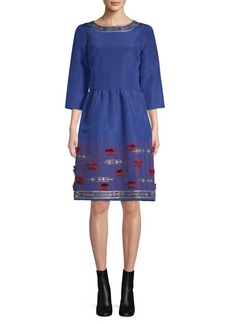 Oscar de la Renta Embroidered Silk Dress