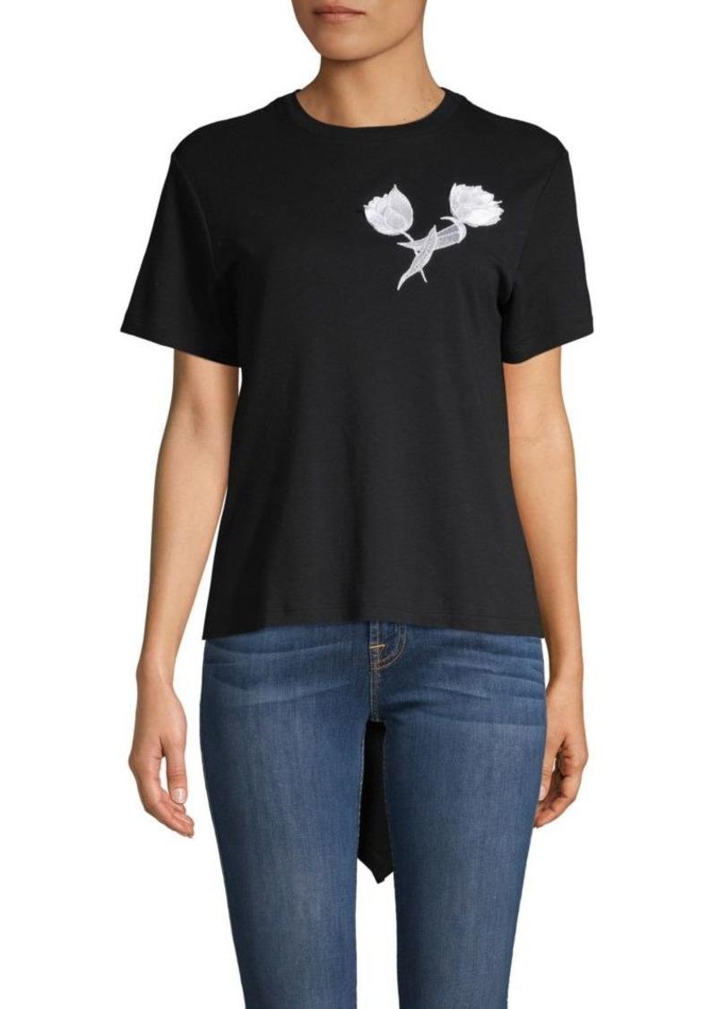 Oscar de la Renta Embroidered Tulip High-Low Tee