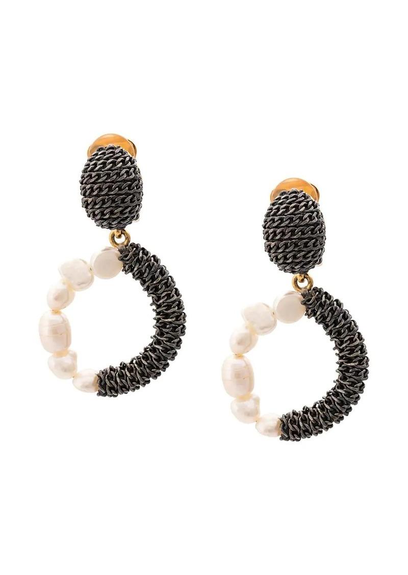 Oscar de la Renta pearl chain earrings