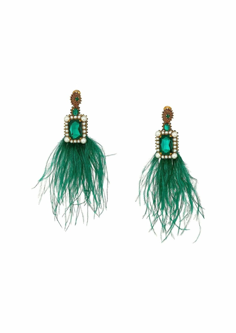 Oscar de la Renta Feather Drop Earrings