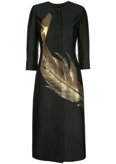 Oscar de la Renta feather long panelled coat