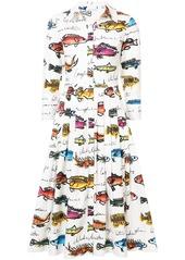 Oscar de la Renta fish-print midi shirt dress