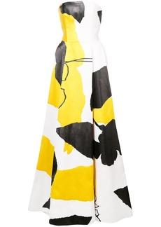 Oscar de la Renta flared colour-block gown