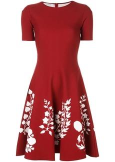 Oscar de la Renta flared floral knit dress