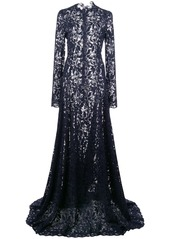 Oscar de la Renta flared-skirt lace gown