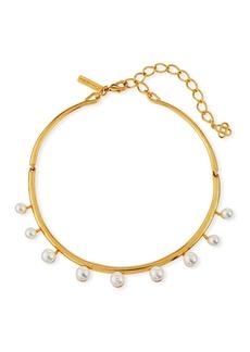 Oscar de la Renta Floating Pearly Crystal Choker Necklace