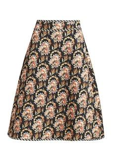 Oscar de la Renta Floral A-Line Midi Skirt