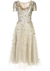 Oscar de la Renta floral-appliqué A-line dress