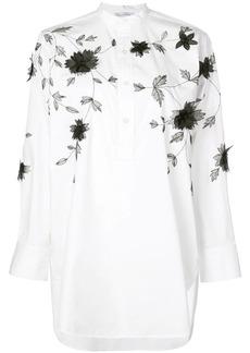 Oscar de la Renta floral appliqué shirt