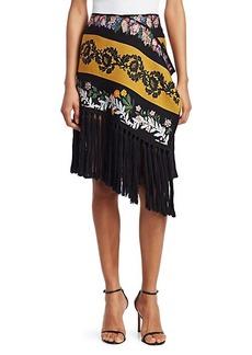 Oscar de la Renta Floral Asymmetric Fringed Scarf Skirt