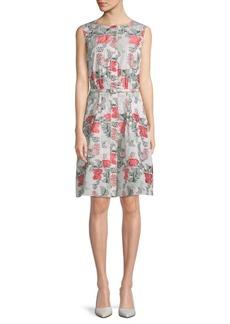 Oscar de la Renta Floral Belted Dress