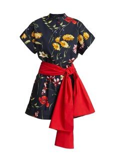Oscar de la Renta Floral Belted Stretch-Cotton Romper