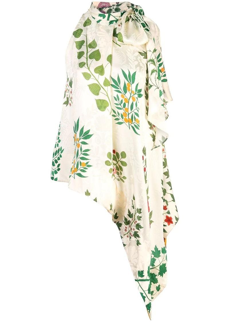 Oscar de la Renta floral bow tie blouse