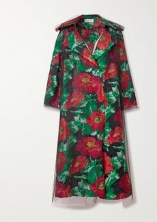 Oscar de la Renta Floral Brocade And Tulle Coat