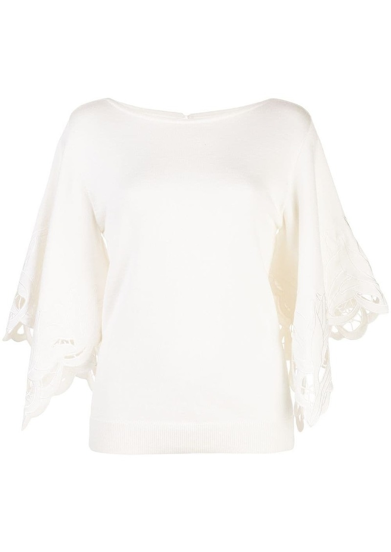 Oscar de la Renta floral cut-out blouse