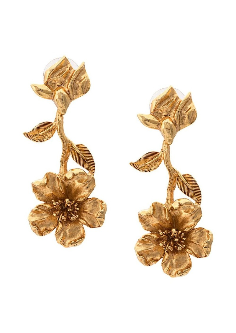 Oscar de la Renta floral drop earrings