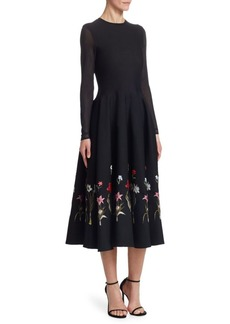 Oscar de la Renta Floral-Embroidered A-Line Dress