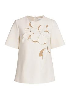 Oscar de la Renta Floral Embroidered Crewneck Short Sleeve Top