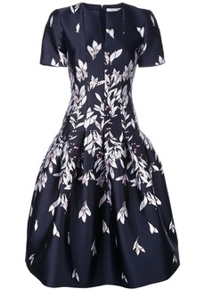 Oscar de la Renta floral embroidered midi dress