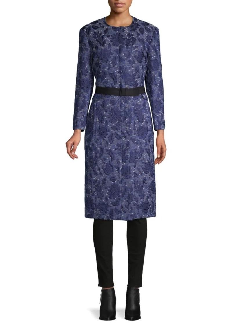 Oscar de la Renta Floral Embroidered Silk, Cotton & Wool-Blend Coat