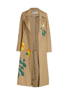 Oscar de la Renta Floral Hand Painted Trench Coat