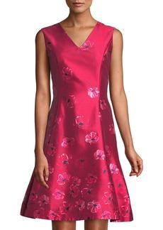 Oscar de la Renta Floral Fit & Flare Mikado Dress