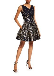 Oscar de la Renta Floral Jacquard Crisscross Fit-and-Flare Dress