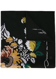 Oscar de la Renta floral jacquard scarf