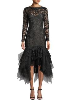 Oscar de la Renta Floral Lace Illusion Tulle-Flounce Dress