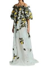 Oscar de la Renta Citrus Primavera Applique Off-The-Shoulder Gown