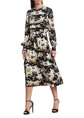 Oscar de la Renta Floral Panel Tiered Midi Dress